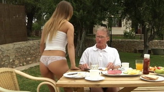 Old Man Fucks Young Girl in the Courtyard