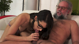 Geeky Teen Girl Sucks and Fucks Older Guy